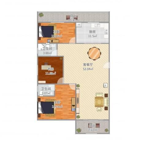佳韵园3室1厅2卫1厨179.00㎡户型图
