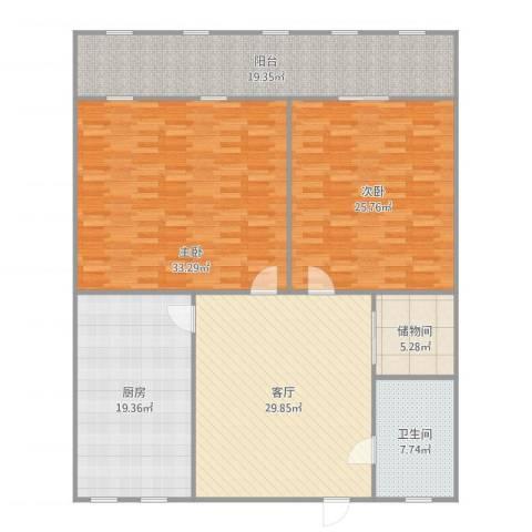 制锦市小区2室1厅1卫1厨186.00㎡户型图