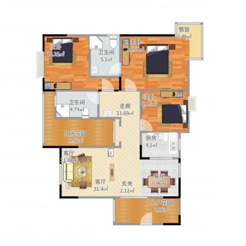 帝苑锦城二期3室1厅2卫1厨137.00㎡户型图