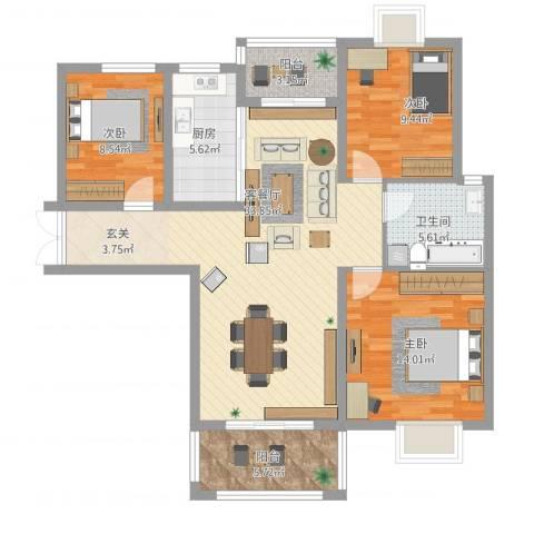 时代茗苑3室1厅1卫1厨123.00㎡户型图