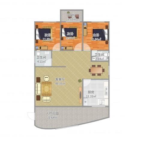 佳韵园134-140平三房3室1厅2卫1厨168.00㎡户型图