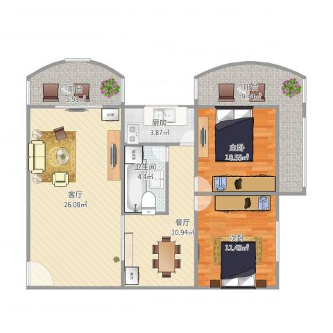 冠成大厦89平2室2厅1卫1厨111.00㎡户型图