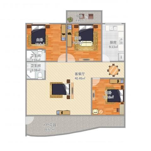 佳韵园3室1厅2卫1厨158.00㎡户型图