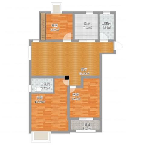 四明家园3室1厅2卫1厨130.00㎡户型图