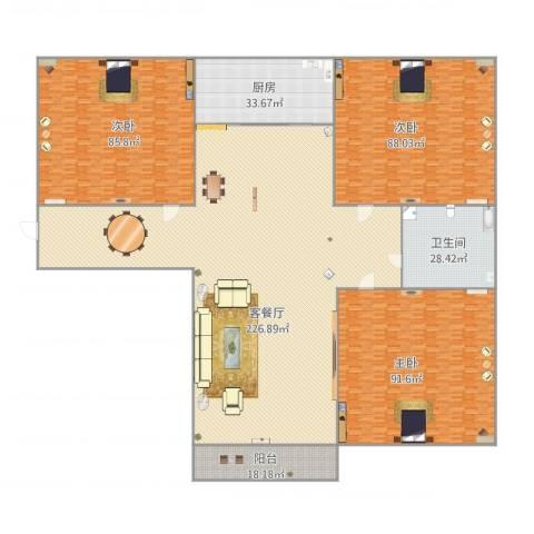 舜玉花园3室1厅1卫1厨736.00㎡户型图