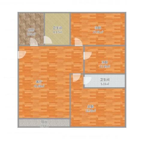 东波苑二街坊3室1厅2卫1厨160.00㎡户型图