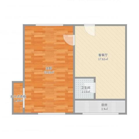 星苑小区1室1厅1卫1厨64.00㎡户型图