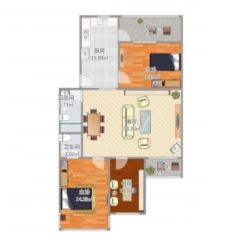 慧龙居3室1厅2卫1厨118.00㎡户型图