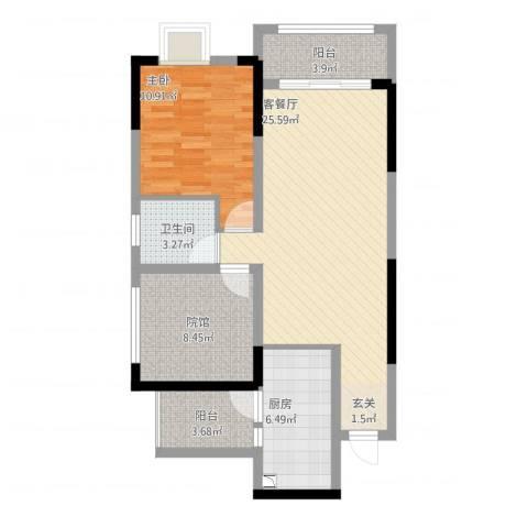美丽泽京1室1厅2卫1厨90.00㎡户型图