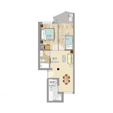 江山弄2室1厅1卫1厨70.00㎡户型图