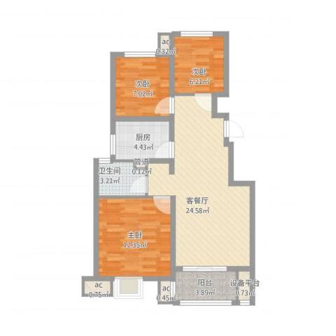 御山雅苑3室1厅1卫1厨94.00㎡户型图