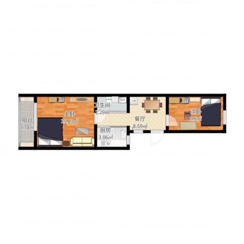 永乐西区2室1厅1卫1厨61.00㎡户型图