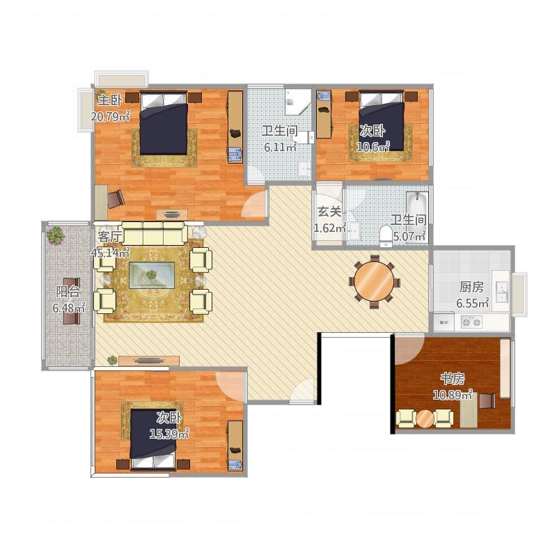聚金雅园170平方户型三室两厅
