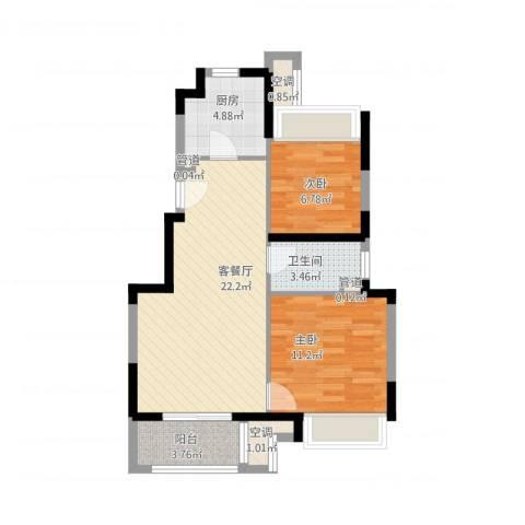 万科尚源2室1厅1卫1厨79.00㎡户型图