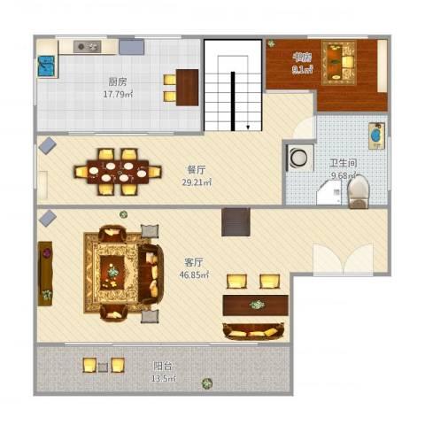 银河湾1室2厅1卫1厨167.00㎡户型图