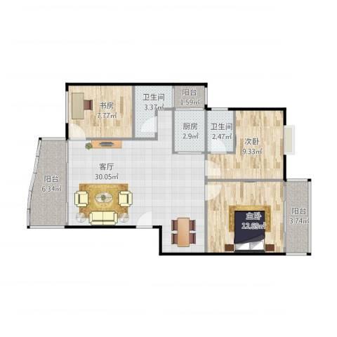 绿家园3室1厅2卫1厨87.23㎡户型图