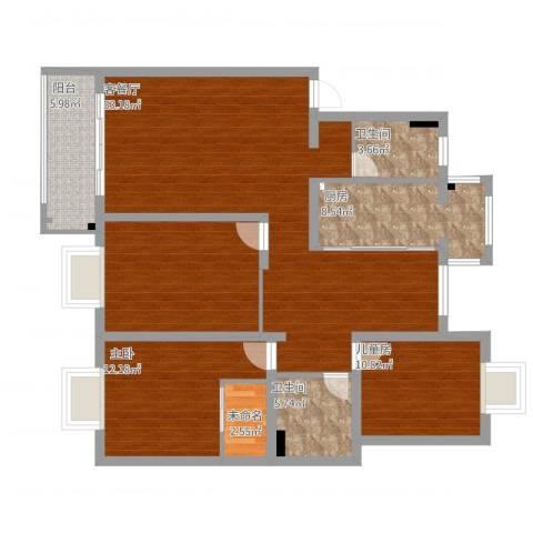 中星凉城苑2室1厅2卫1厨144.00㎡户型图