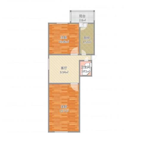 荣强里2室1厅1卫1厨61.00㎡户型图