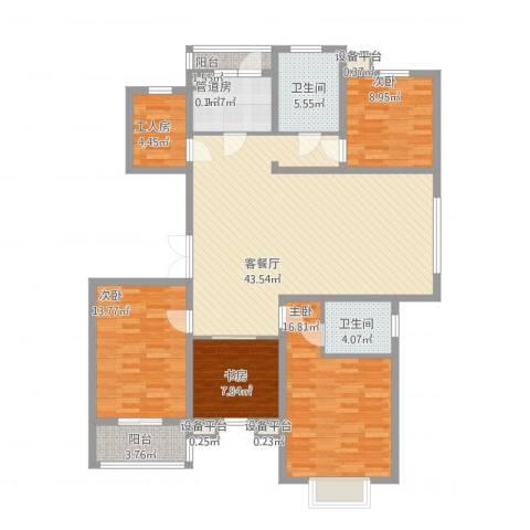 九五花园4室1厅2卫1厨166.00㎡户型图