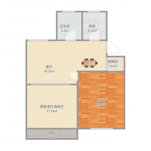 桥畔小区1室1厅1卫1厨105.00㎡户型图