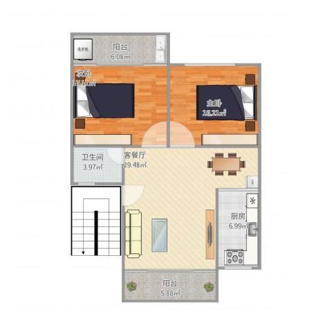 同安大唐世家六期2室1厅1卫1厨115.00㎡户型图