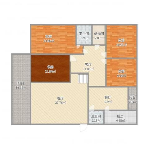 长安丽景苑4室3厅2卫1厨168.00㎡户型图