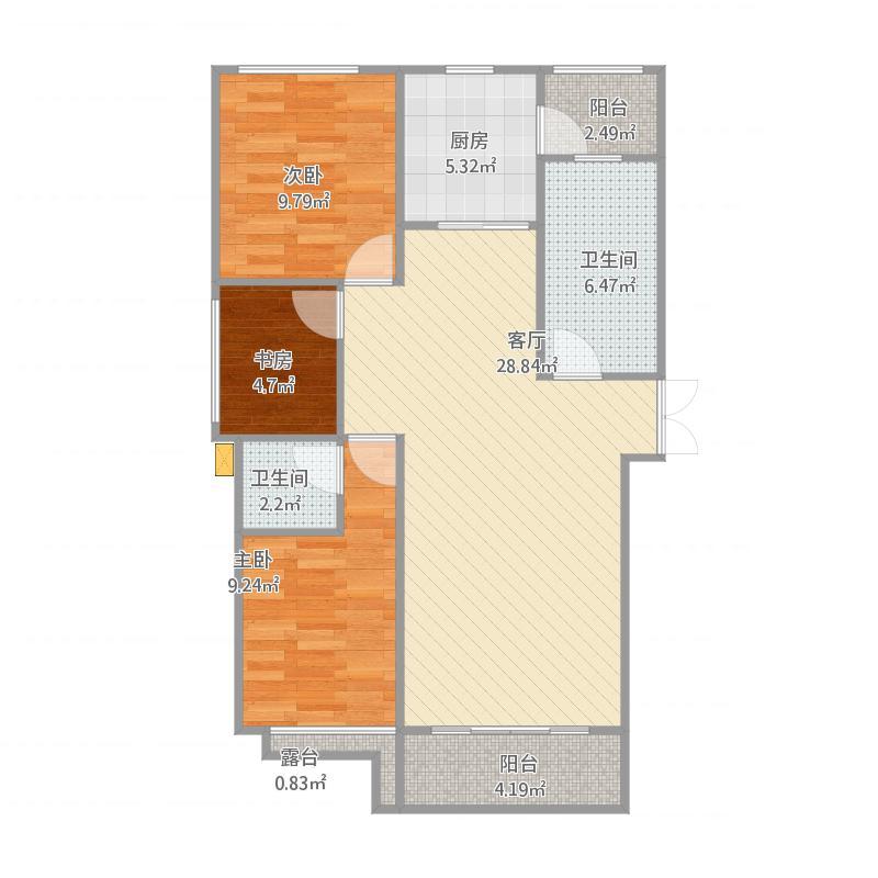 龙瑞新城A-1三室二厅二卫132.74m-134.85m
