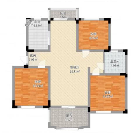 奇瑞龙湖湾3室1厅2卫1厨141.00㎡户型图