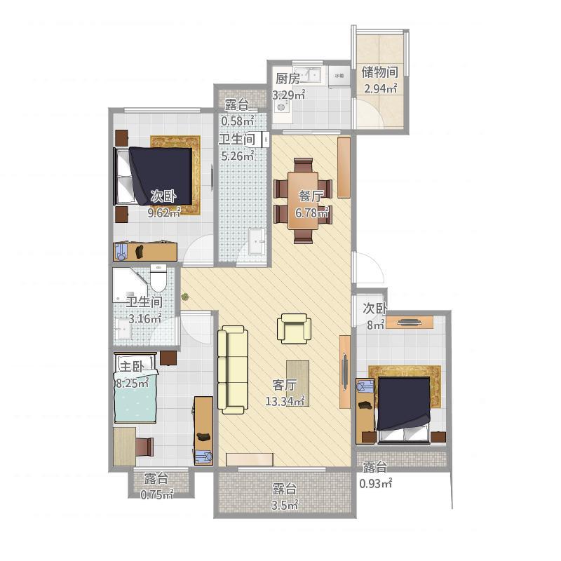 东方新城、C-1户型三室两厅两卫.144.18m