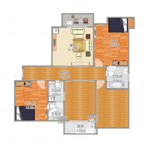 金域首府2室1厅3卫1厨106.00㎡户型图