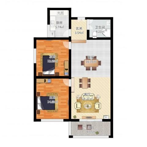 法苑小区2室1厅1卫1厨116.00㎡户型图