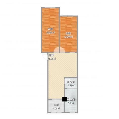 万兴凤凰花园2室2厅1卫1厨83.00㎡户型图