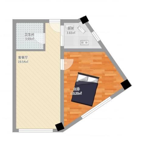 金坐标1室1厅1卫1厨61.00㎡户型图
