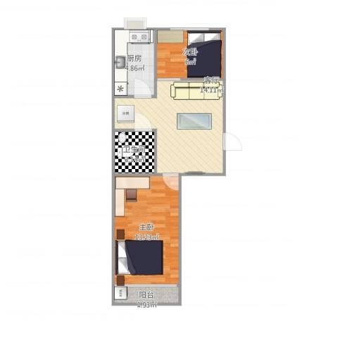青后小区2室1厅1卫1厨59.00㎡户型图