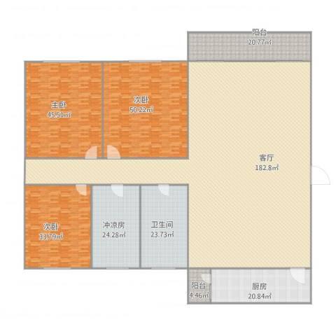 华景苑3室1厅1卫1厨527.00㎡户型图