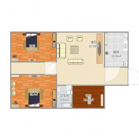 鸿业豪庭3室1厅1卫1厨207.00㎡户型图