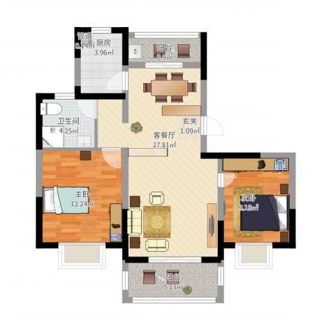 绿地泊林公馆2室1厅1卫1厨95.00㎡户型图