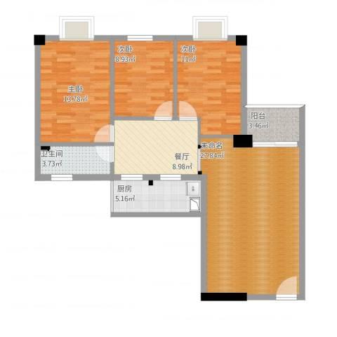 育龙居3室1厅1卫1厨119.00㎡户型图