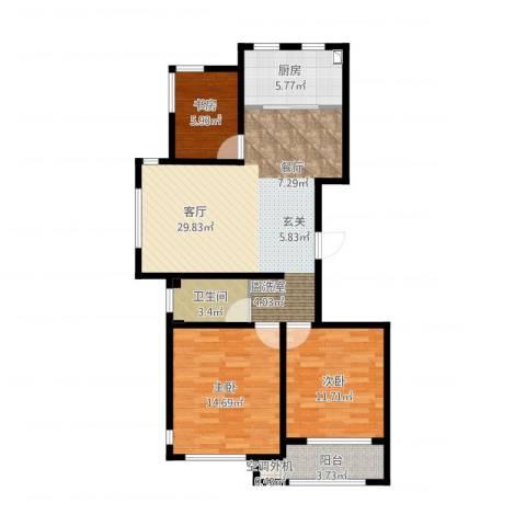 金桥澎湖山庄3室1厅2卫1厨107.00㎡户型图