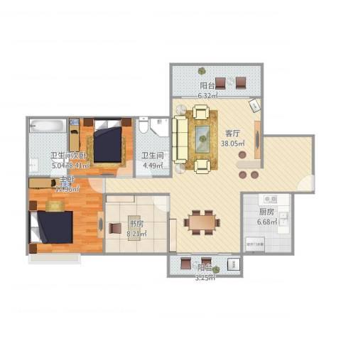 田禾卢浮公馆3室1厅2卫1厨126.00㎡户型图