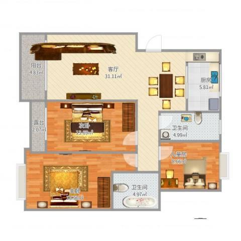 淀山湖花园3室1厅2卫1厨124.00㎡户型图