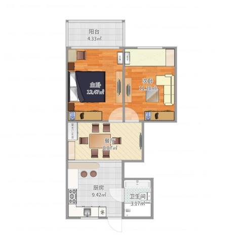 龙柏二村2室1厅1卫1厨67.00㎡户型图