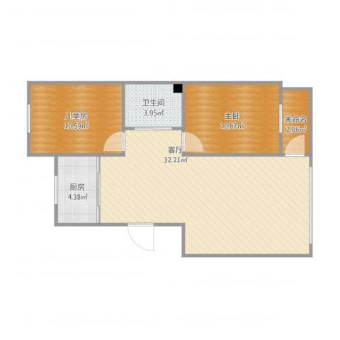 营口红运平安家园小区2室1厅1卫1厨87.00㎡户型图