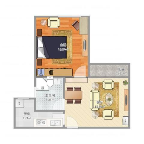 东力新村1室1厅1卫1厨56.00㎡户型图