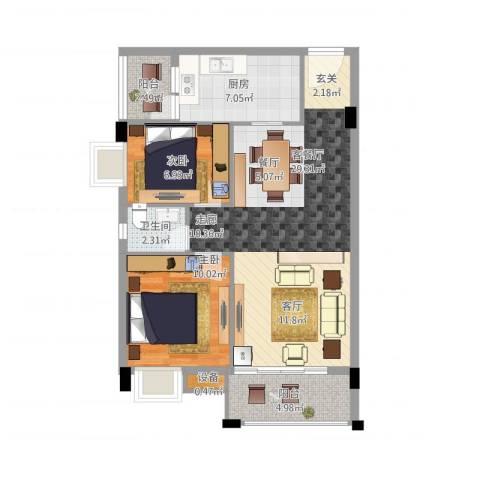 天盛花园2室1厅1卫1厨90.00㎡户型图
