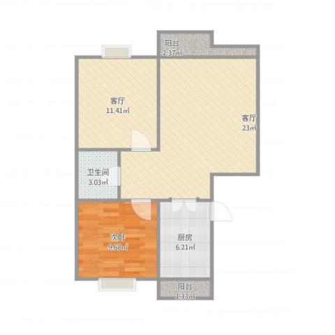第六大道大洋嘉园1室2厅1卫1厨77.00㎡户型图