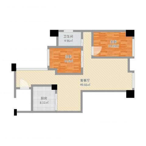丰泰东海山庄2室1厅1卫1厨127.00㎡户型图