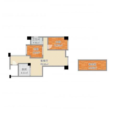 丰泰东海山庄2室1厅1卫1厨151.00㎡户型图
