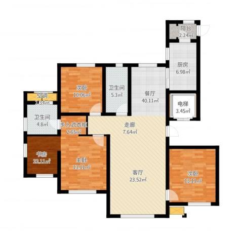 水韵豪庭3室1厅2卫1厨157.00㎡户型图