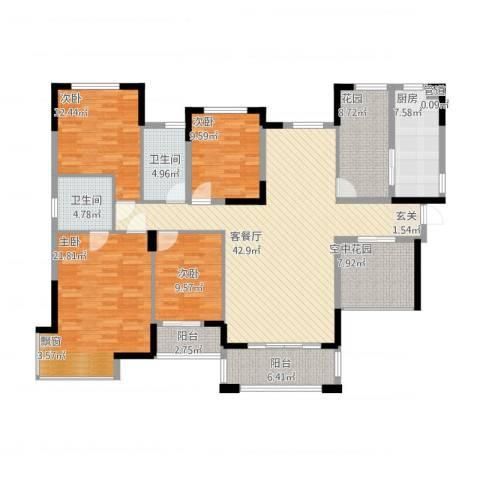 丰泰悦榕东岸4室1厅2卫1厨197.00㎡户型图